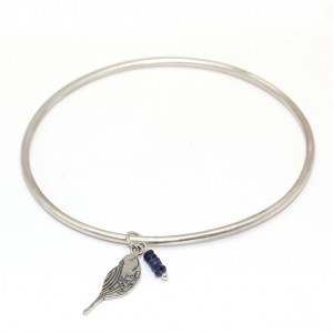 Blue Sapphire Bangle with Engraved Bird